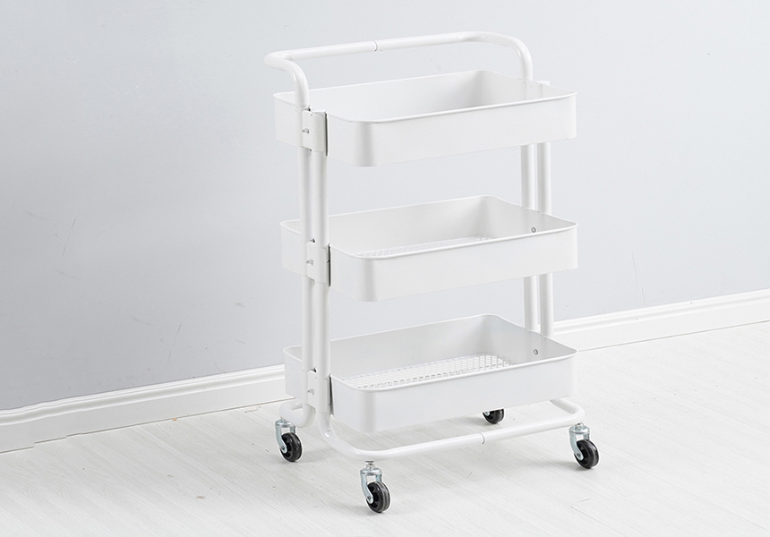3 Tiers Height Adjustable Storage Rack Trolley Sturdy Cart Slim Rolling Trolley With Wheels for Kitchen