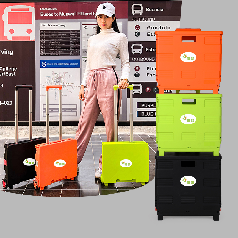 Portable Folding Trolley Cart Two-Wheeled Rolling Retractable Hand Cart Collapsible Grocery Folding Utility Cart Trolley