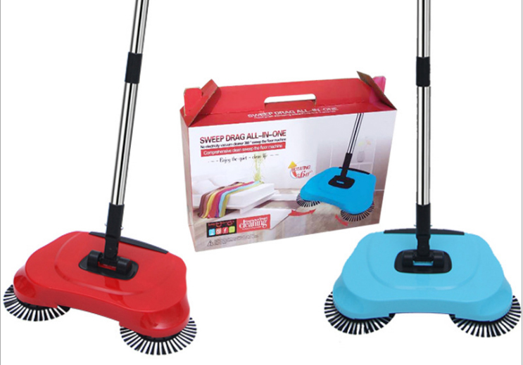 Stainless Steel Sweeper Push Type Hand-Push Magic Broom Dust Household Cleaning Package