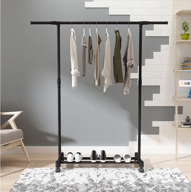 Adjustable Rolling Steel Clothes Hanger Organizer Garment Rack Heavy Duty Rail with Wheel Clothes Storage